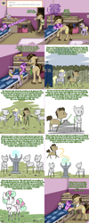 Size: 1502x3758   Tagged: safe, artist:sugar0612, artist:thelastrunicorn, amethyst star, derpy hooves, dinky hooves, doctor whooves, sparkler, time turner, golem, pony, lovestruck derpy, comic, crying, dialogue, doctor who, flashback, sonic screwdriver, spear, tardis, the doctor, weapon