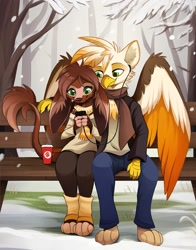 Size: 1214x1548 | Tagged: safe, artist:aseethe, oc, oc only, oc:cocoa (gindo), oc:ember burd, griffon, anthro, beak, bench, big ears, cellphone, chest fluff, chocolate, clothes, coffee cup, colored wings, couple, cozy, cup, earbuds, eared griffon, food, furry, furry oc, gindo, gradient wings, griffon oc, hot chocolate, leg warmers, leggings, listening to music, multicolored wings, paws, phone, scarf, sharing, sitting, snow, snowfall, tail, talons, wholesome, wings
