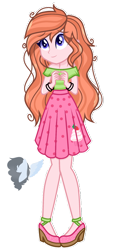 Size: 1096x2222   Tagged: safe, artist:skyfallfrost, oc, oc:strawberry delight, equestria girls, clothes, female, shirt, simple background, skirt, solo, transparent background