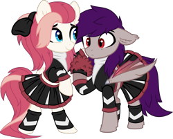 Size: 7995x6413 | Tagged: safe, artist:aureai, oc, oc only, oc:aureai, oc:coldfire (bat pony), bat pony, pegasus, pony, absurd resolution, bow, cheerleader, cheerleader outfit, clothes, confused, crossdressing, female, folded wings, hair over one eye, happy, looking at someone, male, mare, pom pom, ponytail, raised eyebrow, raised hoof, simple background, smiling, stallion, standing, transparent background, transparent wings, vector, wings