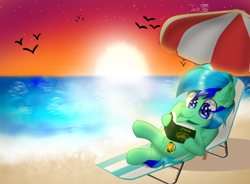 Size: 1750x1289 | Tagged: safe, artist:jadebreeze115, oc, oc only, oc:jade breeze, pegasus, beach, blue eyes, blue hair, book, lying down, reading, reference to another series, solo, sunset