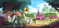 Size: 3000x1409 | Tagged: safe, artist:redchetgreen, oc, oc only, earth pony, pony, apple, apple tree, barn, chicken coop, cloven hooves, cutie mark, dirt, farm, fence, grass, high res, looking ahead, male, mountain, pale belly, scenery, smiling, solo, sweet apple acres, tree, unshorn fetlocks, walking, wings