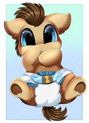 Size: 2550x3509   Tagged: safe, artist:pridark, doctor whooves, time turner, earth pony, pony, baby, baby pony, colt, cute, diaper, doctorbetes, floppy ears, looking at you, male, pridark is trying to murder us, weapons-grade cute