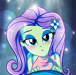 Size: 1272x1253 | Tagged: safe, artist:charliexe, fluttershy, equestria girls, adorasexy, beautiful, bedroom eyes, blushing, bust, cute, flower, hairclip, lidded eyes, looking at you, male, male pov, offscreen character, pov, sexy, shyabetes, solo