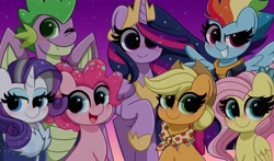 Size: 4096x2410 | Tagged: safe, artist:kittyrosie, applejack, fluttershy, pinkie pie, rainbow dash, rarity, spike, twilight sparkle, alicorn, pegasus, unicorn, the last problem, blushing, crown, cute, gigachad spike, hoof shoes, jewelry, mane seven, mane six, older, older applejack, older fluttershy, older mane seven, older mane six, older pinkie pie, older rainbow dash, older rarity, older spike, older twilight, one eye closed, open mouth, princess twilight 2.0, regalia, skunk stripe, smiling, twilight sparkle (alicorn), wink