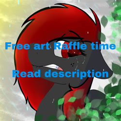 Size: 1640x1640 | Tagged: safe, artist:dicemarensfw, oc, oc only, oc:dicemare, pegasus, pony, advertisement, art, art chance, caption, cute, digital, event, female, free art, image macro, mare, meta, raffle, raffle prize, solo, text, twitter