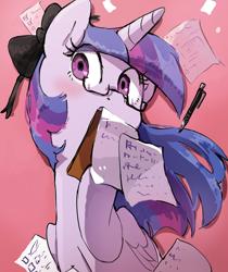 Size: 1302x1548 | Tagged: safe, artist:nendo, twilight sparkle, alicorn, pony, bow, eyelashes, female, glasses, hair bow, looking at you, misleading thumbnail, mouth hold, pen, purple eyes, solo, twilight sparkle (alicorn)