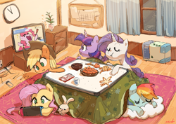 Size: 1980x1400 | Tagged: safe, artist:nendo, angel bunny, applejack, fluttershy, pinkie pie, rainbow dash, rarity, twilight sparkle, alicorn, earth pony, pegasus, pony, unicorn, applejack's hat, cowboy hat, dragon maid, eating, eyes closed, female, fruit, hat, herbivore, kotatsu, mane six, mare, nintendo, nintendo switch, open mouth, sleeping, tangerine, watching tv