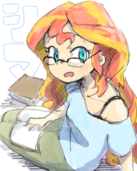 Size: 1024x1280 | Tagged: safe, artist:nendo, sunset shimmer, equestria girls, adorkable, anime style, bra, bra strap, clothes, cute, dork, glasses, shimmerbetes, solo, sweet dreams fuel, underwear