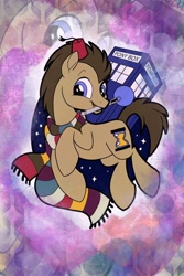 Size: 1364x2048   Tagged: safe, artist:sophillia, doctor whooves, time turner, earth pony, pony, abstract background, clothes, doctor who, fez, hat, male, mouth hold, scarf, solo, sonic screwdriver, stallion, striped scarf, tardis, the doctor, zoom layer