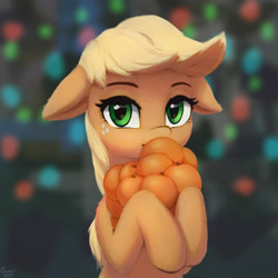 Size: 2048x2048 | Tagged: safe, artist:quvr, applejack, earth pony, pony, applebetes, cute, dishonorapple, female, floppy ears, food, fruit heresy, hatless, herbivore, jackabetes, looking at you, mare, missing accessory, orange, solo, sweet dreams fuel, tangerine