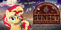 Size: 1024x512 | Tagged: artist needed, safe, sunset shimmer, pony, unicorn, fallout equestria, advertisement, female, looking at you, mare, poster, solo, sunset sarsparilla, text, vector