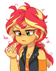 Size: 1701x2134 | Tagged: safe, artist:maren, sunset shimmer, equestria girls, equestria girls series, rollercoaster of friendship, bags under eyes, bandage, bandaid, clothes, cutie mark, cutie mark on clothes, dialogue, female, geode of empathy, magical geodes, messy hair, nose bandaid, sleep deprivation, solo, tired, vest