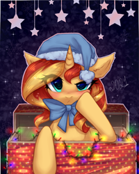 Size: 2000x2500 | Tagged: safe, artist:avrameow, sunset shimmer, pony, unicorn, abstract background, blushing, bow, box, christmas, christmas lights, cute, eye clipping through hair, eyebrows, eyebrows visible through hair, female, hat, holiday, looking at you, mare, pony in a box, present, shimmerbetes, solo