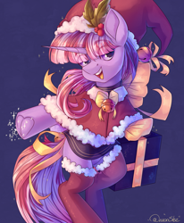 Size: 1650x2000   Tagged: safe, artist:neonishe, oc, oc only, pony, unicorn, bipedal, christmas, clothes, cute, eye clipping through hair, femboy, frog (hoof), hat, holiday, holly, hoofbutt, horn, looking at you, male, open mouth, present, ribbon, santa hat, signature, skirt, smiling, solo, stockings, thigh highs, underhoof, unicorn oc