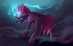 Size: 1500x950 | Tagged: safe, artist:its-gloomy, tempest shadow, pony, unicorn, broken horn, electricity magic, eye scar, female, floppy ears, glowing horn, gritted teeth, horn, looking at you, looking back, looking back at you, magic, mare, missing cutie mark, rear view, scar, smoke, solo