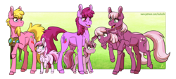 Size: 2400x1089 | Tagged: safe, artist:inuhoshi-to-darkpen, idw, berry punch, berryshine, cheerilee, cherry berry, cherry blossom (idw), piña colada, ruby pinch, earth pony, pony, unicorn, spoiler:comic, spoiler:comic29, aviator goggles, aviator hat, background pony, berrybetes, cheeribetes, cherrybetes, chest fluff, cute, cutie blossom, cutie mark, ear fluff, female, filly, floppy ears, goggles, hat, headcanon in the description, hoof fluff, horn, mare, open mouth, overly protective parent pony, pinchybetes, piña cutelada, raised hoof, siblings, sisters, twin sisters, twins
