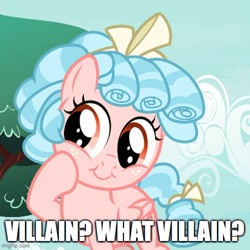 Size: 500x501   Tagged: safe, edit, edited screencap, screencap, cozy glow, pegasus, pony, marks for effort, bow, caption, cozybetes, cute, female, filly, foal, hair bow, image macro, imgflip, solo, tail bow, text