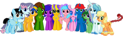 Size: 5000x1500 | Tagged: safe, artist:crisostomo-ibarra, oc, oc only, oc:bella pinksavage, oc:eagle tale, oc:flare spark, oc:fluffybriefs, oc:hawk feather, oc:heartsy, oc:mint heart, oc:sapphire heart song, oc:sunrise glisten, oc:swiftgaia, oc:train track, oc:twilyx360, changedling, changeling, pegasus, unicorn, 2021 community collab, derpibooru community collaboration, curved horn, female, glasses, horn, jewelry, looking at you, male, mare, necklace, peace symbol, scorpion tail, simple background, smiling, smiling at you, stallion, transparent background