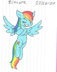Size: 1009x1263 | Tagged: safe, artist:cmara, rainbow dash, pegasus, pony, crossed arms, eyes closed, female, flying, grin, mare, raised hoof, simple background, smiling, solo, traditional art, white background