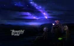 Size: 2560x1600 | Tagged: safe, artist:ssnerdy, oc, oc only, anthro, guitar, headphones, musical instrument, night, scenery, stars, trio