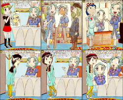 Size: 1723x1404 | Tagged: safe, artist:meiyeezhu, acrylic paint (character), leonardo da brinci, trixie, watermelody, oc, oc:young master zhi, human, angry, anime, apron, artist, beret, black hair, bookshelf, boots, bossy, bowtie, bust, canvas, cap, clothes, comic, counselor trixie, criticism, cursive writing, desk, disappointed, easel, exactly what it looks like, glasses, gloves, hat, humanized, jewel, laughing, meta joke, name tag, office, old master q, older, older trixie, paintbrush, painter, painting, pants, parody, pointing, portrait, reference, rejected, robes, rug, sad, school of friendship, shocked, shoes, signature, skirt, surprised, traditional art, unamused, wrinkles