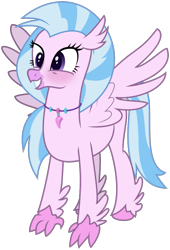 Size: 637x939 | Tagged: safe, artist:byteslice, silverstream, classical hippogriff, hippogriff, .svg available, blushing, cutest hippogriff alive, female, simple background, smiling, spread wings, standing, svg, transparent background, vector, wings