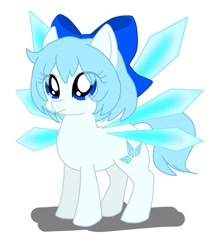 Size: 949x1080   Tagged: safe, artist:namaenonaipony, fairy, fairy pony, original species, pony, bow, cirno, crossover, cute, female, mare, ponified, touhou