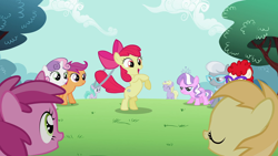 Size: 1920x1080 | Tagged: safe, screencap, apple bloom, aura (character), diamond tiara, dinky hooves, noi, ruby pinch, scootaloo, silver spoon, sweetie belle, twist, earth pony, pegasus, pony, unicorn, the cutie pox, adorabloom, angry, apple bloom's bow, aurabetes, bipedal, bow, cute, cutealoo, cutie mark, diamond tiara is not amused, diamondbetes, diasweetes, dinkabetes, eyes closed, female, filly, glasses, hair bow, jewelry, loop-de-hoop, necklace, noiabetes, open mouth, park, pinchybetes, rearing, silver spoon is not amused, silverbetes, smiling, tiara, twistabetes