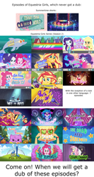 Size: 1920x3600 | Tagged: safe, edit, screencap, adagio dazzle, alizarin bubblegum, applejack, celery stalk, dj pon-3, fluttershy, pinkie pie, princess thunder guts, rainbow dash, rarity, sci-twi, sunset shimmer, twilight sparkle, vinyl scratch, butterfly, dog, dolphin, accountibilibuddies, camping must-haves, cheer you on, coinky-dink world, costume conundrum, do it for the ponygram!, eqg summertime shorts, equestria girls, equestria girls series, festival filters, festival looks, find the magic, five lines you need to stand in, good vibes, how to backstage, i'm on a yacht, inclement leather, let it rain, lost and pound, run to break free, sock it to me, the last drop, the road less scheduled, tip toppings, wake up!, spoiler:choose your own ending (season 2), spoiler:eqg series (season 2), balloon, clothes, discovery family logo, flower, gem, high res, humane five, humane seven, humane six, microphone, music festival outfit, pajamas, question, rain, rainbow, siren gem, text, title card, youtube thumbnail