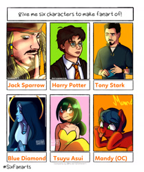 Size: 1280x1529 | Tagged: safe, artist:enochiandream20, oc, earth pony, human, pony, :p, blushing, bust, cheek squish, clothes, crossover, earth pony oc, female, glasses, harry potter, hat, jack sparrow, male, marvel comics, my hero academia, necktie, nun, pirate, pirates of the caribbean, praying, shhh, six fanarts, smiling, squishy cheeks, steven universe, tongue out, tony stark, tsuyu asui