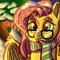 Size: 2362x2362 | Tagged: safe, artist:enochiandream20, fluttershy, pegasus, pony, :p, bust, clothes, cute, eyelashes, female, glasses, high res, looking at you, mare, outdoors, scarf, shyabetes, snow, snow on nose, snowfall, spread wings, stray strand, three quarter view, tongue out, wings