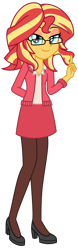Size: 1024x3277 | Tagged: safe, artist:emeraldblast63, artist:lumineko, sunset shimmer, equestria girls, alternate hairstyle, blazer, business suit, clothes, glasses, high heels, looking at you, pumps, shoes, short hair, simple background, skirt, therapist, transparent background, vector