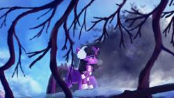 Size: 1920x1080 | Tagged: safe, artist:hierozaki, twilight sparkle, alicorn, pony, clothes, earmuffs, female, mare, scarf, snow, solo, striped scarf, tree, twilight sparkle (alicorn)