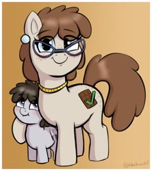 Size: 1917x2163   Tagged: safe, artist:heretichesh, truffle shuffle, oc, oc:chocolate checkmark, earth pony, pony, colt, cute, duo, ear piercing, earring, female, freckles, glasses, gradient background, jewelry, looking at you, male, mare, mother and child, mother and son, necklace, piercing, smiling, smiling at you