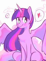Size: 1280x1684 | Tagged: safe, artist:manguitokn, twilight sparkle, alicorn, pony, chest fluff, cute, female, heart, mare, signature, sitting, smiling, solo, spread wings, twiabetes, twilight sparkle (alicorn), wings