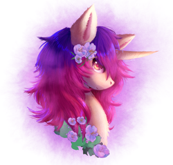 Size: 1890x1810 | Tagged: safe, artist:saberevansx3, oc, oc only, pony, unicorn, bust, female, flower, flower in hair, portrait, profile, simple background, solo, white background