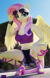 Size: 2160x3320 | Tagged: safe, artist:shadowboltsfm, fluttershy, pegasus, anthro, plantigrade anthro, 3d, aviator glasses, belly button, blender, bra, bracelet, breasts, busty fluttershy, clothes, crop top bra, cute, eyelashes, feet, high res, jewelry, looking at you, midriff, nail polish, not sfm, sandals, shorts, shyabetes, smiling, sunglasses, toenail polish, toes, underwear, wings
