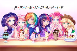 Size: 9000x6000   Tagged: safe, artist:autumn rush, applejack, fluttershy, pinkie pie, rainbow dash, rarity, twilight sparkle, human, equestria girls, absurd resolution, anime style, banana, cherry, chocolate syrup, crossover, f.r.i.e.n.d.s, food, humane five, humane six, humanized, ice cream, mlp fim's eleventh anniversary, parody, simple background, smiling, whipped cream, white background