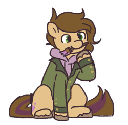 Size: 549x541   Tagged: safe, artist:amé#8830, oc, oc:cj vampire, earth pony, pony, bomber jacket, brown mane, brown tail, clothes, fanart, green eyes, holding, hoodie, jacket, looking at you, mouth hold, photo, purple hoodie, sitting, solo, tail