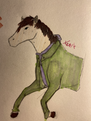 Size: 3024x4032   Tagged: safe, artist:xenix, oc, oc:cj vampire, earth pony, pony, bomber jacket, brown mane, clothes, fanart, galloping, glasses off, green eyes, hoers, hoodie, jacket, photo, purple hoodie, solo, traditional art