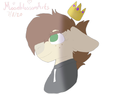 Size: 2048x1536   Tagged: safe, artist:blossomarts, oc, oc only, oc:cj vampire, earth pony, pony, bomber jacket, brown mane, bust, clothes, crown, fanart, floppy ears, glasses off, green eyes, jacket, jewelry, looking up, photo, portrait, regalia, simple background, smiling, solo, transparent background