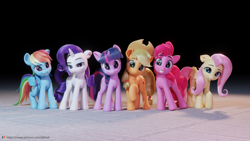 Size: 5760x3240 | Tagged: safe, artist:therealdjthed, applejack, fluttershy, pinkie pie, rainbow dash, rarity, twilight sparkle, earth pony, pegasus, pony, unicorn, 3d, absurd resolution, black background, blender, cute, floor, floppy ears, frown, grin, group, happy birthday mlp:fim, looking at you, mane six, mlp fim's eleventh anniversary, raised hoof, simple background, smiling, smiling at you, unicorn twilight