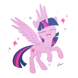 Size: 1000x1000 | Tagged: safe, artist:sion, twilight sparkle, alicorn, pony, backwards cutie mark, cute, eyes closed, female, mare, open mouth, ponytober, rearing, simple background, smiling, solo, spread wings, twiabetes, twilight sparkle (alicorn), weapons-grade cute, white background, wings