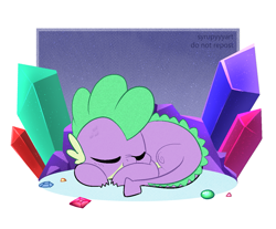Size: 1323x1094   Tagged: safe, artist:syrupyyy, spike, dragon, crystal, cute, male, ponytober, sleeping, solo, spikabetes
