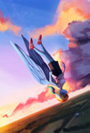 Size: 2000x2985 | Tagged: safe, artist:mrscroup, rainbow dash, bird, pegasus, anthro, clothes, cloud, eyes closed, female, flying, ponytober, shoes, sky, sneakers, solo
