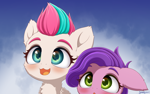 Size: 4000x2500 | Tagged: safe, artist:symbianl, pipp petals, zipp storm, pegasus, pony, g5, my little pony: a new generation, adorapipp, adorazipp, chest fluff, cute, female, filly, filly pipp petals, filly zipp storm, floppy ears, open mouth, siblings, sisters, younger