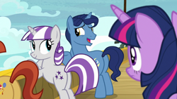 Size: 1920x1080 | Tagged: safe, screencap, night light, paddleball (character), twilight sparkle, twilight velvet, alicorn, pony, unicorn, once upon a zeppelin, bipedal, bipedal leaning, butt, duo focus, father and child, father and daughter, female, husband and wife, leaning, male, mare, mother and child, mother and daughter, plot, stallion, the ass was fat, twilight sparkle (alicorn)