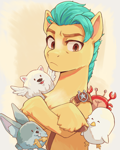 Size: 2560x3200 | Tagged: safe, artist:chopchopguy, part of a set, cloudpuff, hitch trailblazer, bird, crab, dog, earth pony, flying pomeranian, pomeranian, pony, rabbit, seagull, g5, my little pony: a new generation, animal, badge, blaze (coat marking), bucktooth, chest fluff, coat markings, colored eyebrows, critters, crossed arms, crossed hooves, eyes closed, facial markings, frown, male, open mouth, open smile, pale belly, sash, sheesh, sheriff's badge, smiling, stallion, unamused, unshorn fetlocks, winged dog
