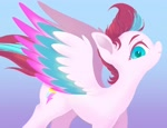 Size: 2665x2048   Tagged: safe, artist:noupu, zipp storm, pegasus, pony, g5, adorazipp, cute, female, high res, looking at you, mare, profile, solo, spread wings, wings